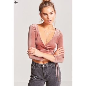 F21 Cropped Velvel Wrap Cropped Top